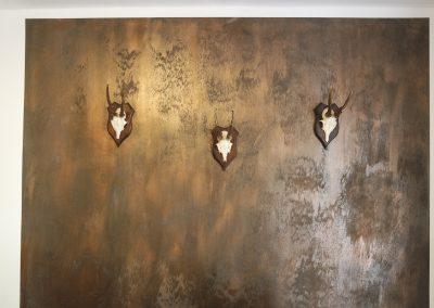 Rustikale Wand in Rost-Optik